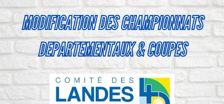 MODIFICATION DES CHAMPIONNATS DEPARTEMENTAUX & COUPES